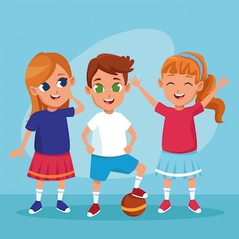 Enfants heureux mignons souriant des dessins animés