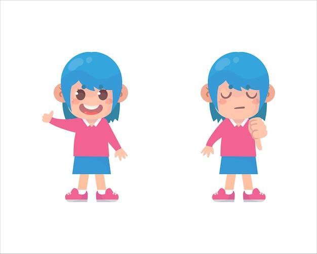 Des enfants heureux montrent le pouce vers le haut et le pouce vers le bas