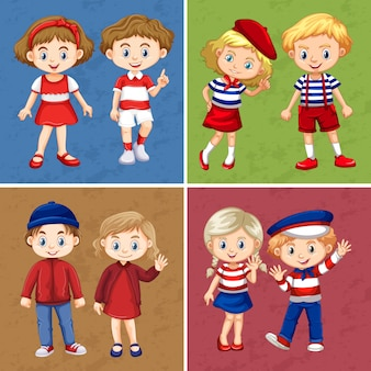 Des enfants heureux sur quatre scènes différentes