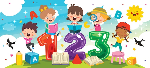 Enfants heureux qui étudient et apprennent
