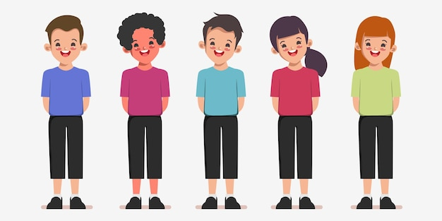 Enfants heureux retour à l'arrière-plan de dessin animé de caractère scolaire