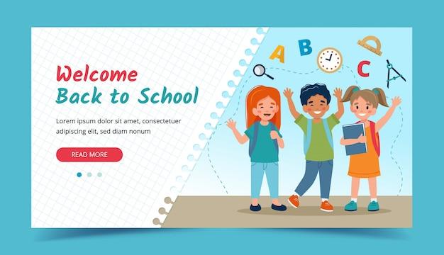 Enfants heureux, retour au concept de l'école. modèle de bannière ou de page de destination.