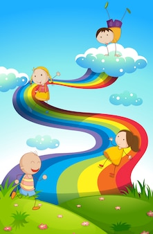 Enfants heureux sur arc-en-ciel
