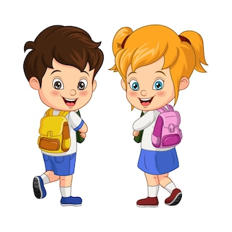 Les enfants heureux vont à l'école
