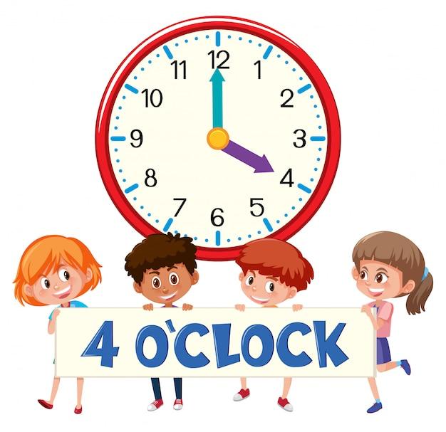 Enfants et horloge 4 heures