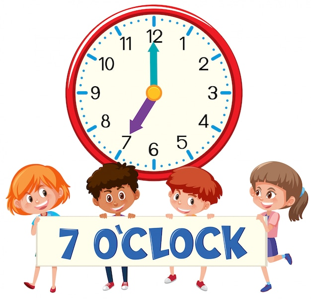 Enfants et horloge sur la banque blanche
