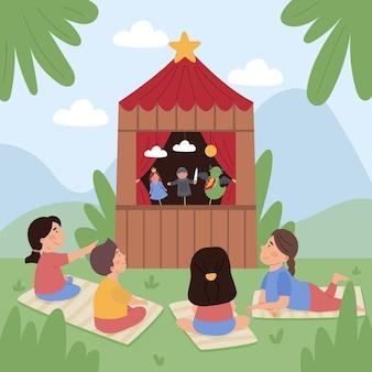 Enfants illustrés regardant un joli spectacle de marionnettes