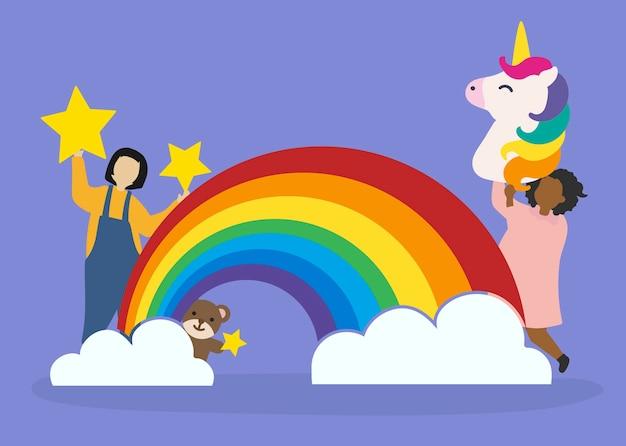 Enfants avec imagination et fantaisie