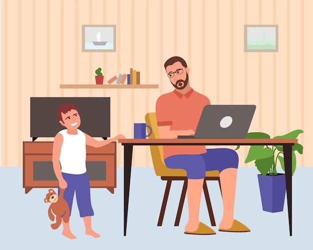 Les enfants interfèrent avec le travail, difficultés avec le travail à distance