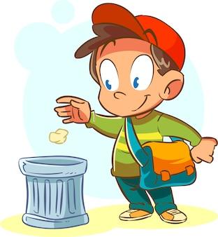 Les enfants jettent les ordures à la place
