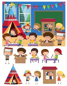 Enfants jouant et apprenant en classe