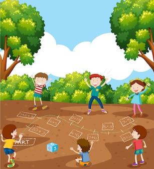 Enfants jouant au jeu de mathématiques