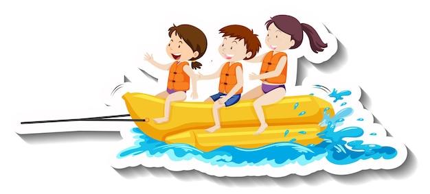 Enfants jouant l'autocollant de dessin animé de bateau banane