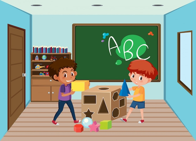 Enfants jouant en classe