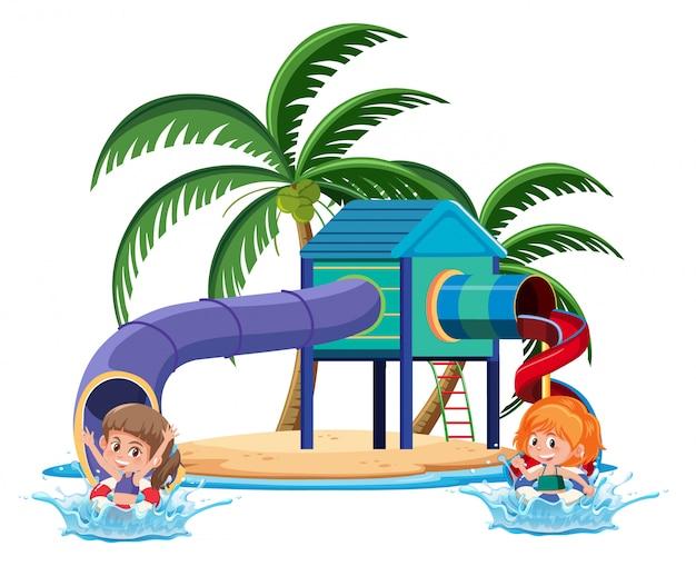 Enfants jouant dans une aire de jeux dans l'île tropicale sur fond blanc