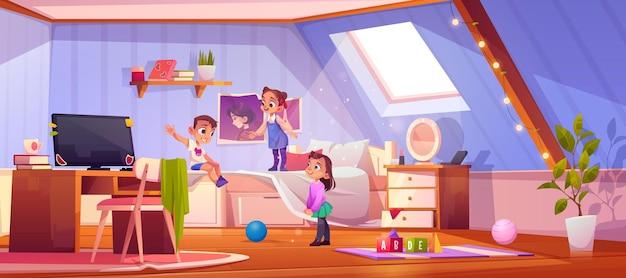 Enfants jouant dans la chambre mansardée, enfants à l'intérieur de la maison avec pc sur illustration de bureau