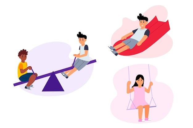 Enfants jouant dans l'illustration de l'aire de jeux