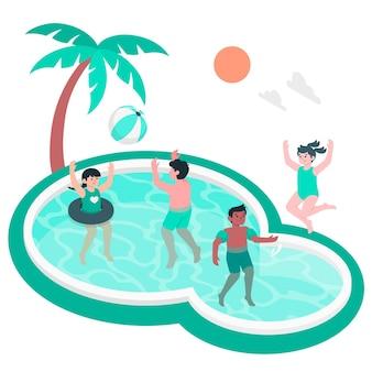 Enfants jouant dans l'illustration de concept de piscine