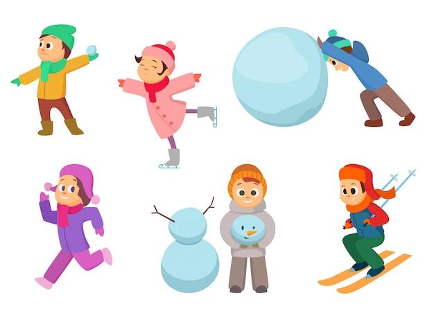 Enfants jouant dans des jeux d'hiver.