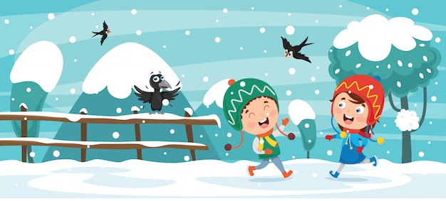 Enfants jouant dehors en hiver