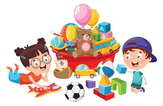 Enfants jouant avec divers jouets