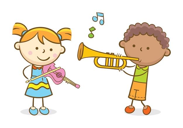 Enfants jouant du violon et de la trompette