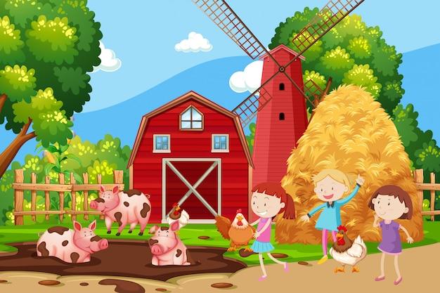 Enfants jouant à la ferme