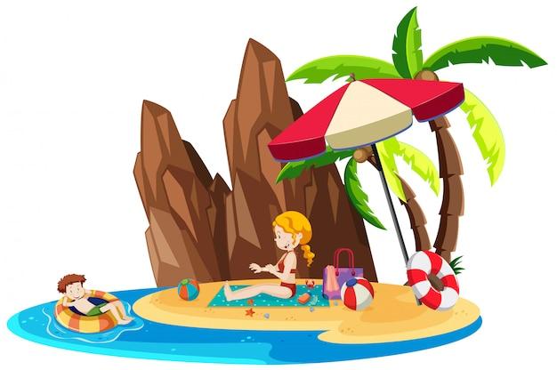 Enfants jouant sur une île isolée