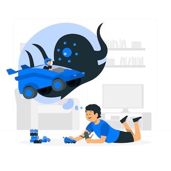 Enfants jouant avec illustration de concept de jouets de voiture