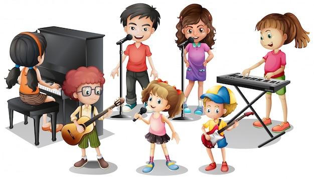 Enfants jouant des instruments et chantent