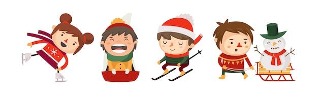 Enfants jouant à des jeux d'hiver et pratiquant des sports d'hiver
