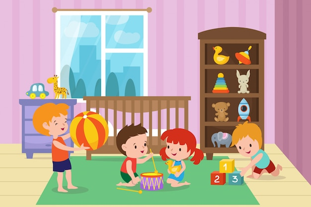 Enfants jouant avec des jouets dans la salle de jeux de l'illustration vectorielle de la maternelle