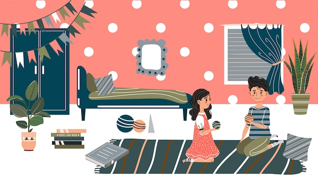 Enfants jouant à la maison, enfants assis sur le sol, illustration