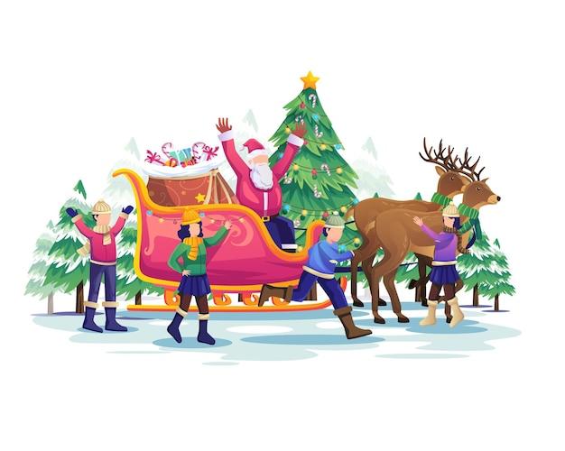 Enfants jouant avec le père noël et sa voiture de rennes à l'illustration des vacances de noël