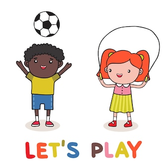 Enfants Jouant Vecteur gratuit