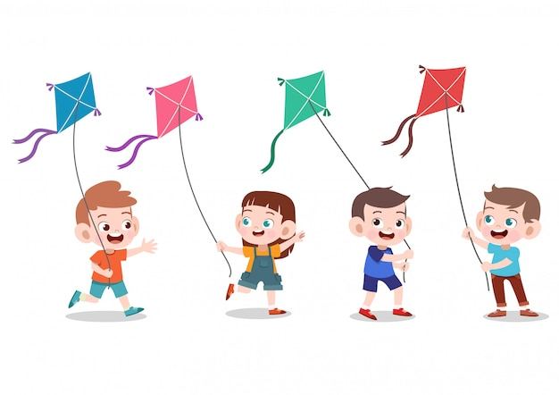 Les enfants jouent au cerf-volant ensemble