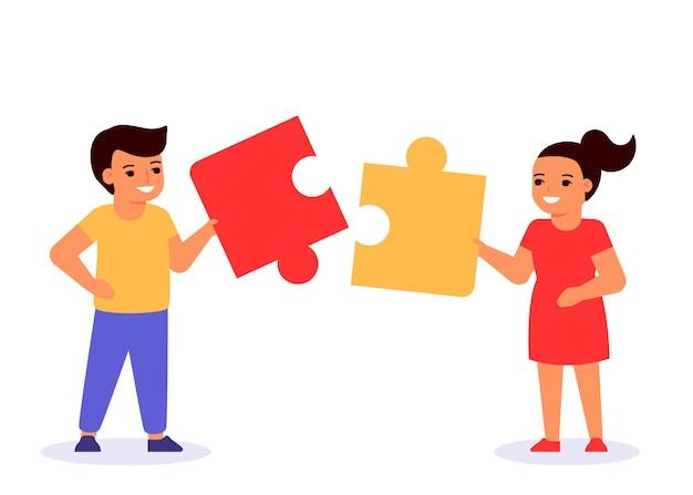 Les Enfants Jouent Au Jeu Et Assemblent Des Puzzles Vecteur Premium