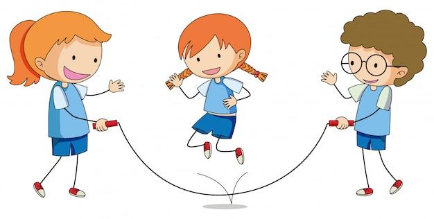 Les enfants jouent au saut à la corde