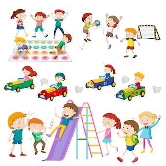Les enfants jouent aux jeux et à l'illustration sportive