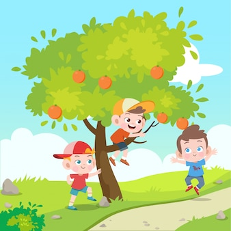 Les enfants jouent dans l'illustration vectorielle de jardin