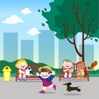 Les enfants jouent dans l'illustration vectorielle de parc