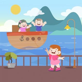 Les enfants jouent dans l'illustration vectorielle de plage