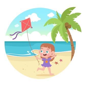 Les enfants jouent à l'illustration de la plage