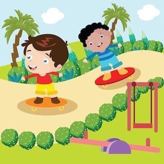 Enfants jouent planche à roulettes illustration de dessin animé