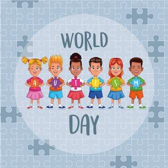 Enfants de la journée mondiale de l'autisme avec des pièces de puzzle vector illustration design