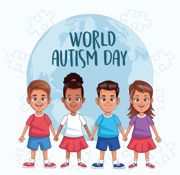 Enfants de la journée mondiale de l'autisme avec la planète monde