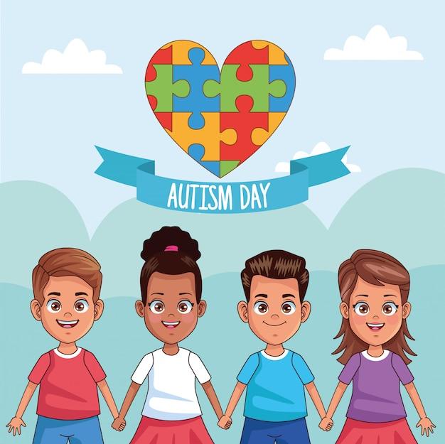Enfants de la journée mondiale de l'autisme avec puzzle coeur