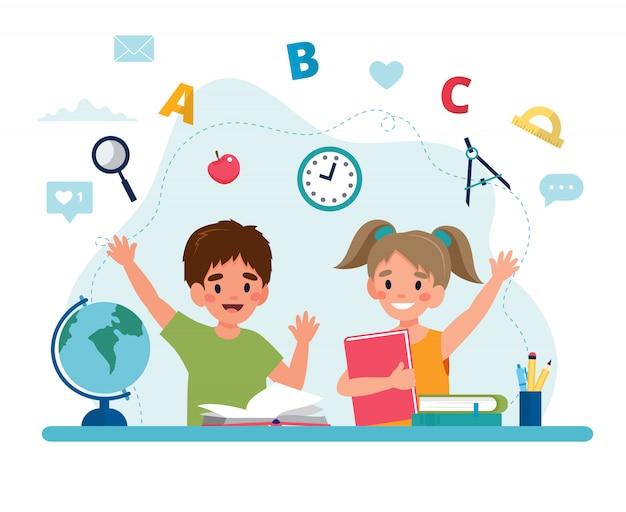 Enfants en lecture de classe, concept de retour à l'école, personnages mignons.