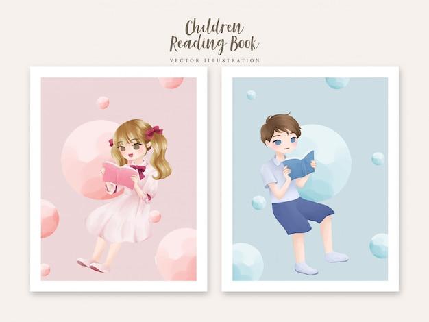 Enfants, lecture livre, aquarelle, illustration