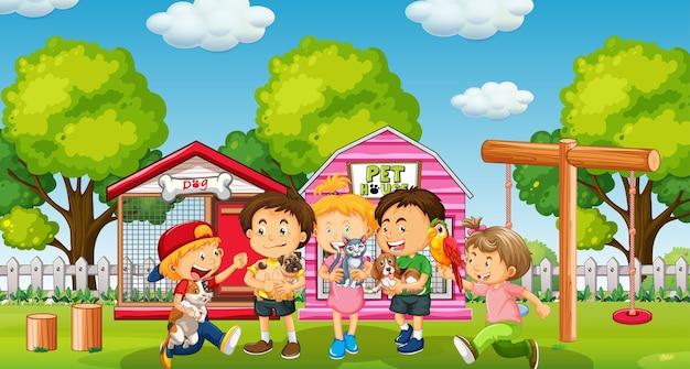 Enfants avec leur animal de compagnie dans la cour